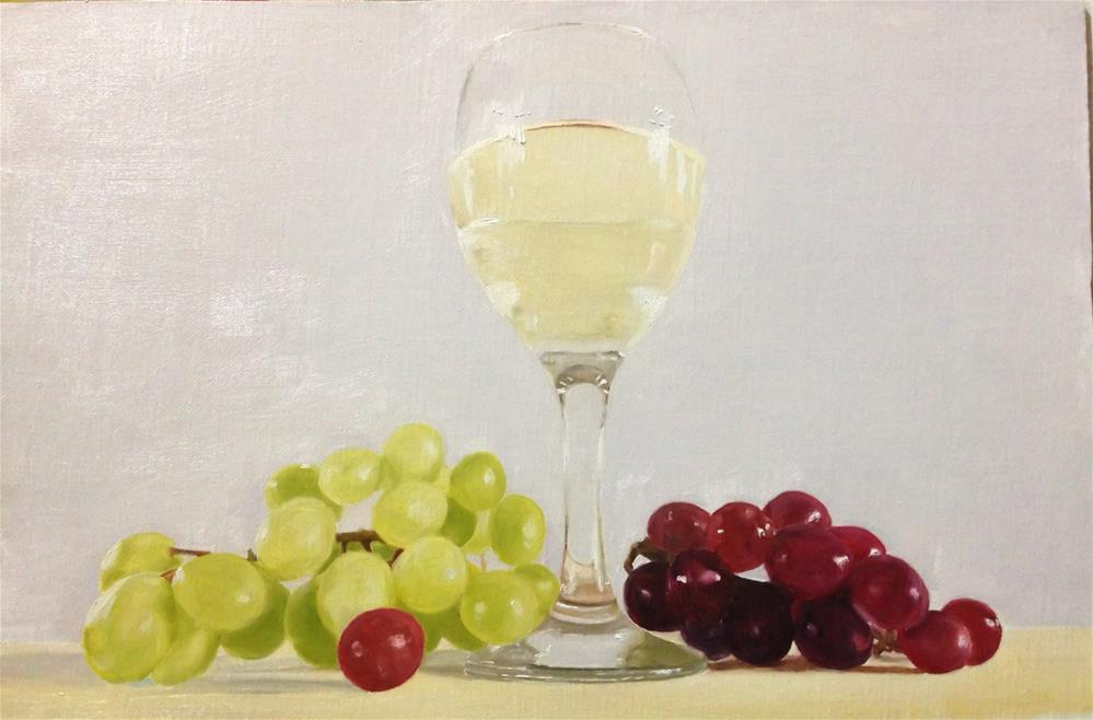 """""""White Wine and Grapes"""" original fine art by James Coates"""