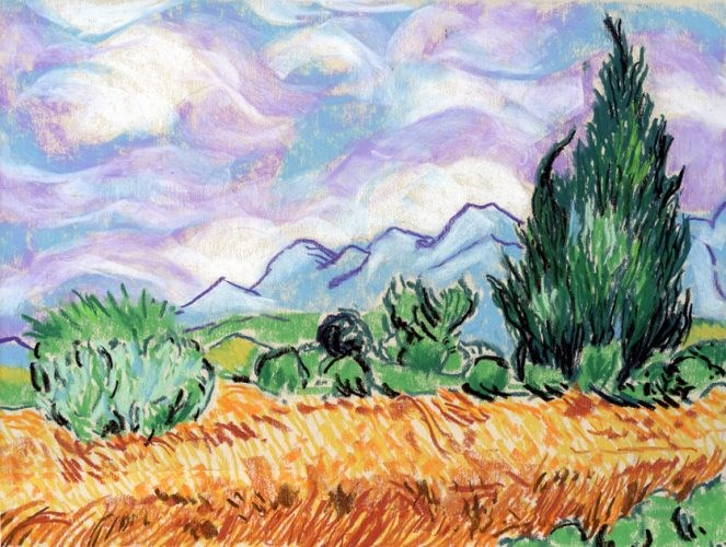 """Van Gogh pastel sketch"" original fine art by Ria Hills"