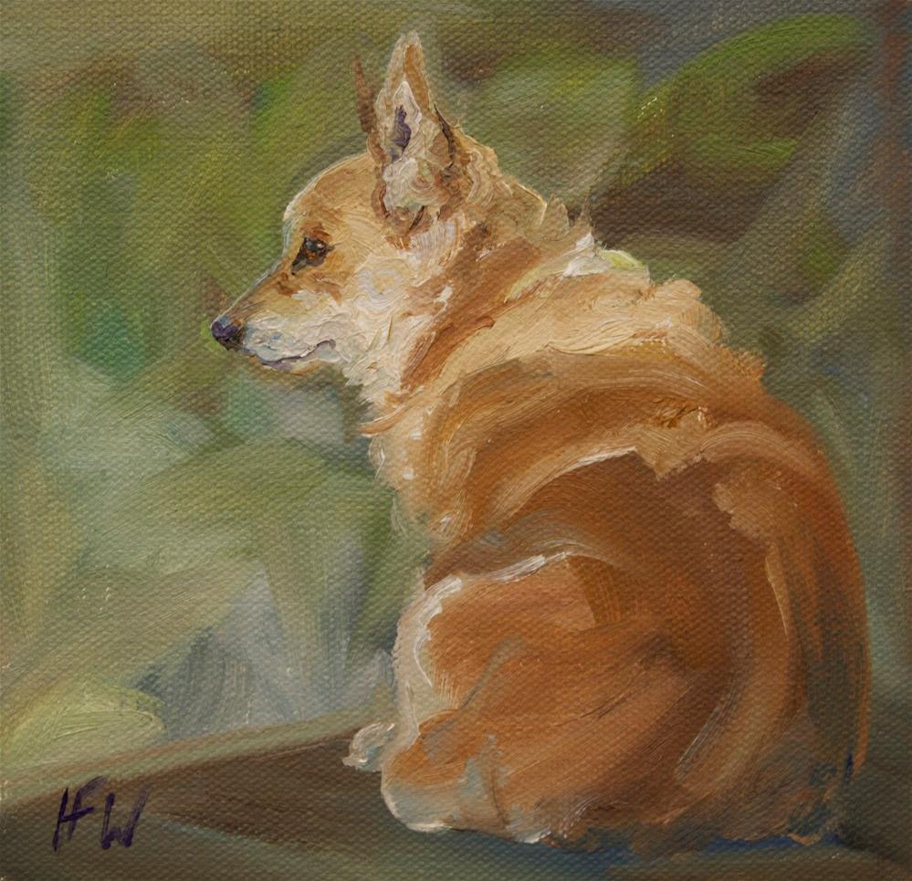 """Corgi on watch"" original fine art by H.F. Wallen"