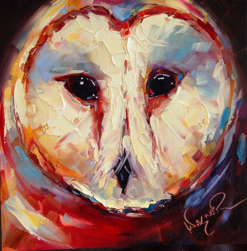 """""""Loving Color Day 8 - ORIGINAL CONTEMPORARY BARN OWL PAINTING in OILS by OLGA WAGNER"""" original fine art by Olga Wagner"""