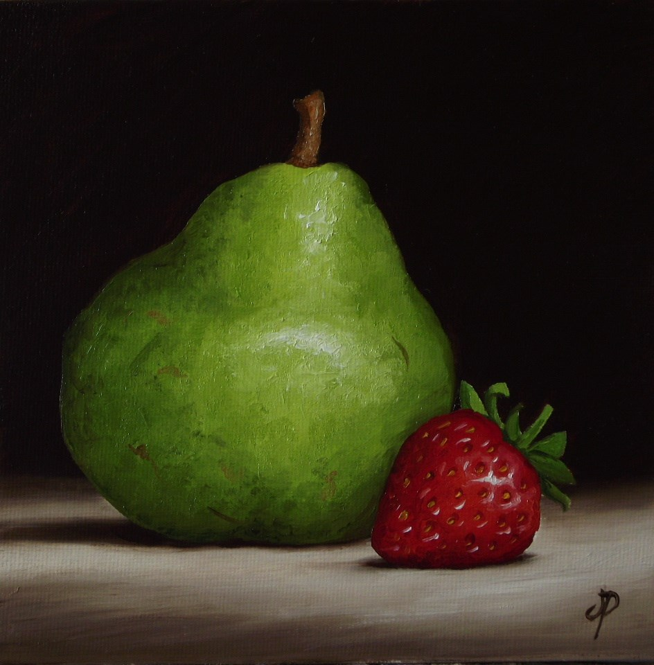 """Pear with Strawberry"" original fine art by Jane Palmer"