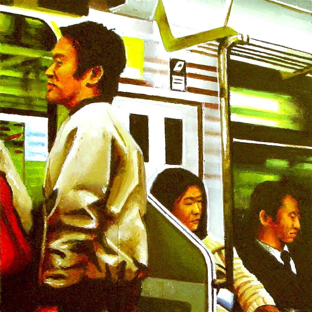 """Japanese Metro- Painting Of People Riding Japanese Subway"" original fine art by Gerard Boersma"