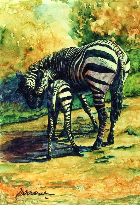 """Zebra and Her Baby"" original fine art by Sue Furrow"