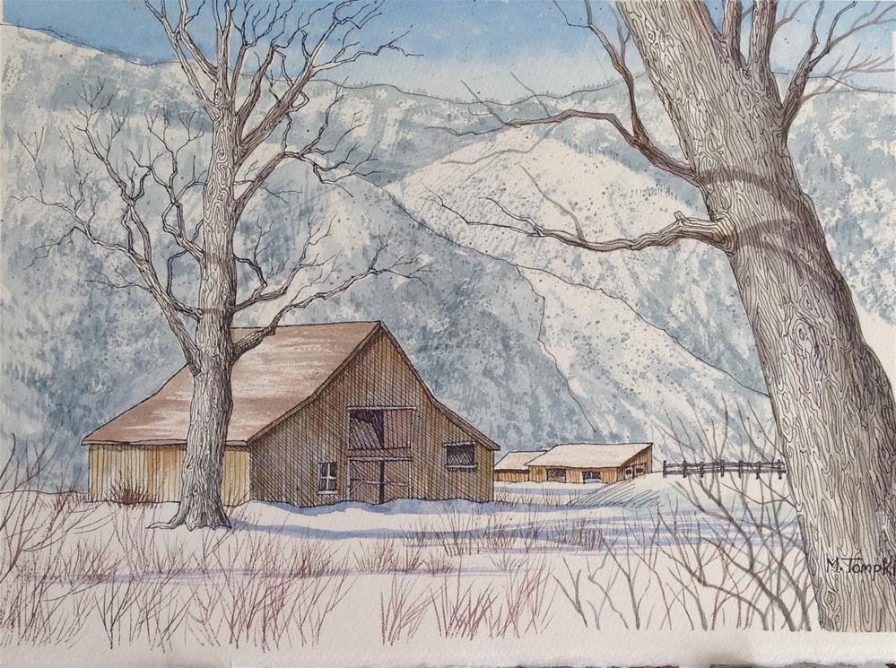"""Winter in the Carson Valley "" original fine art by Mark Tompkins"