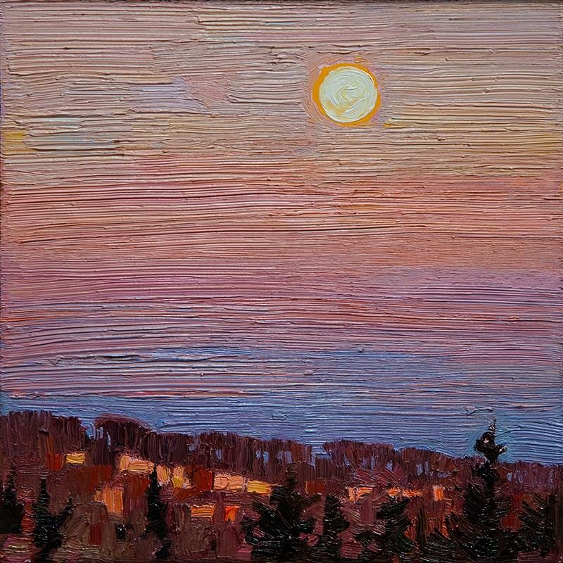 """Full Moon Evening: 6x6 oil on panel"" original fine art by Ken Faulks"