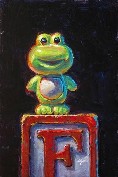 """Frog on Block"" original fine art by Raymond Logan"