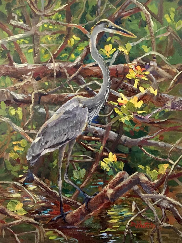 """Mangroves and Blue Heron"" original fine art by Diane Hutchinson"