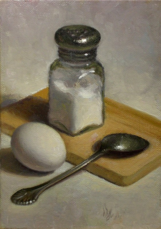 """Egg, Salt and Spoon"" original fine art by Debra Becks Cooper"