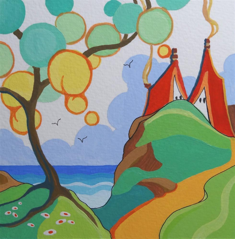 """""""Ode to Clarice Cliff Back to Secrets Miniature Seascape"""" original fine art by Alida Akers"""