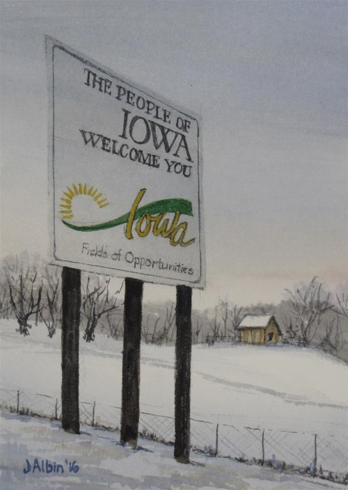 """Welcome to Iowa"" original fine art by Jane Albin"