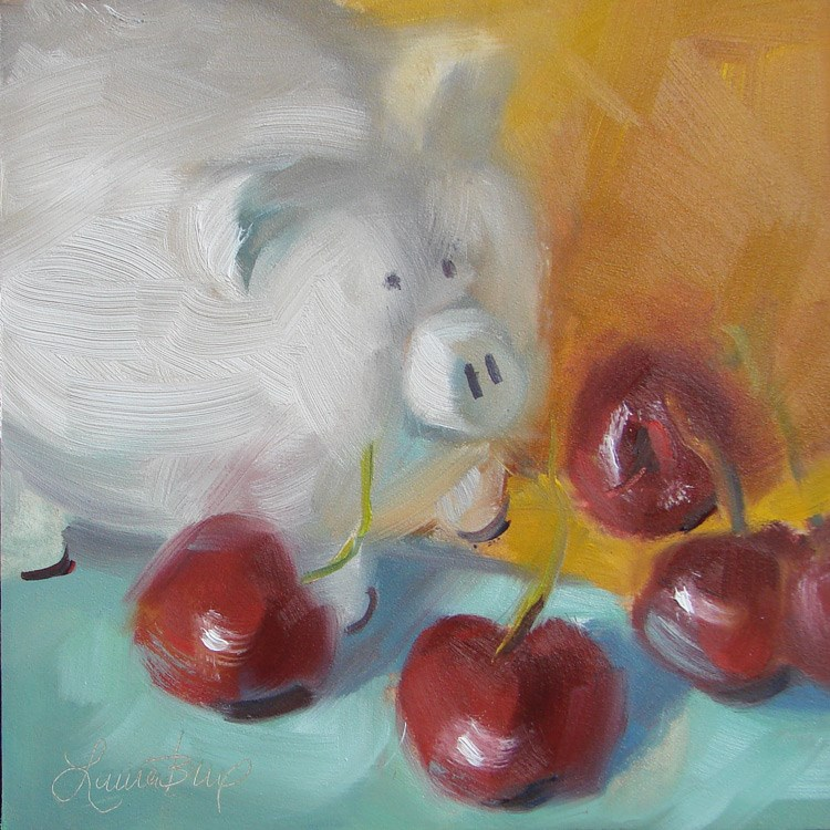 """The Cherry Gang - 399"" original fine art by Laura  Buxo"