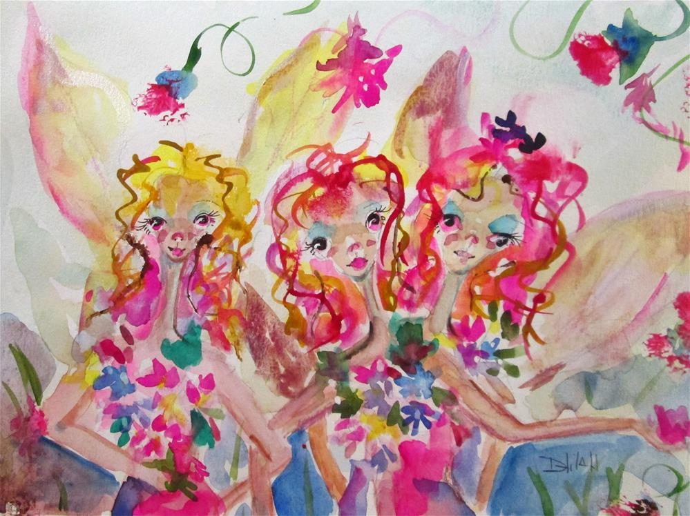 """Garden Fairies"" original fine art by Delilah Smith"
