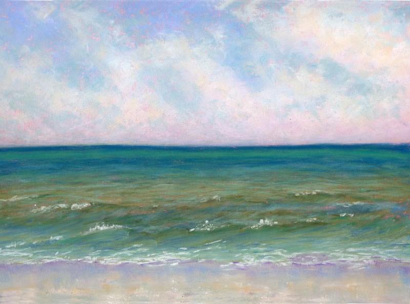 """Grayton Beach Seascape Soft Pastel Painting"" original fine art by Nancy Poucher"