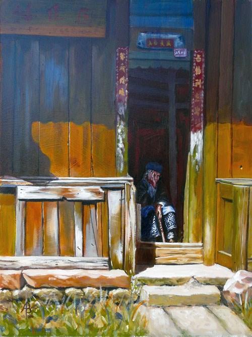 """Old China"" original fine art by Alix Baker PCAFAS AUA"