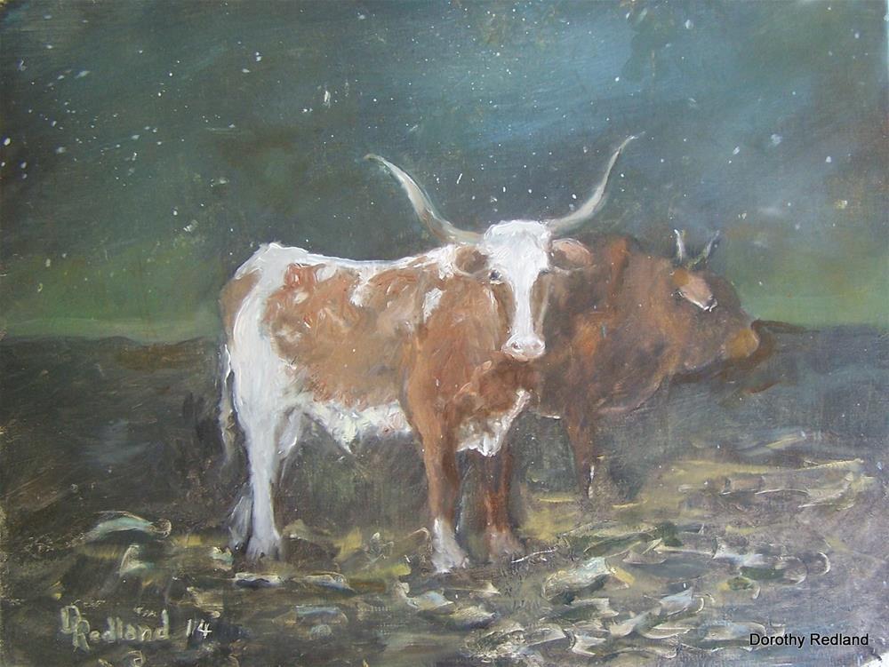"""Dusk in the barnyard"" original fine art by Dorothy Redland"