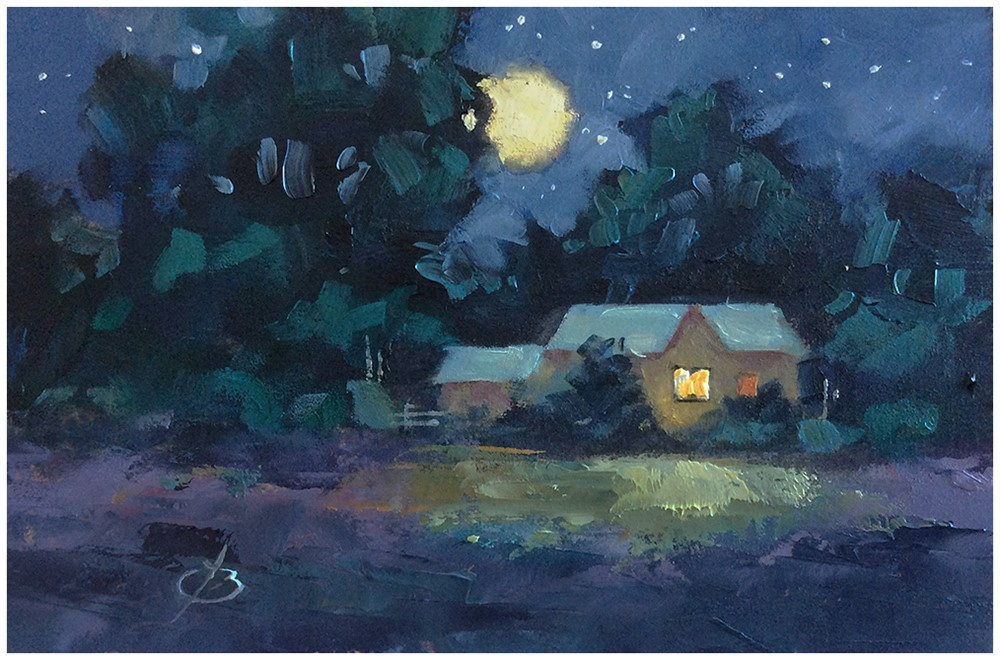 """COZY EVENING"" original fine art by Tom Brown"