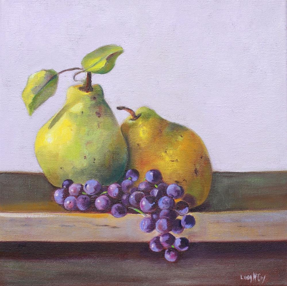 """""""Pears and Concord Grapes"""" original fine art by Linda McCoy"""