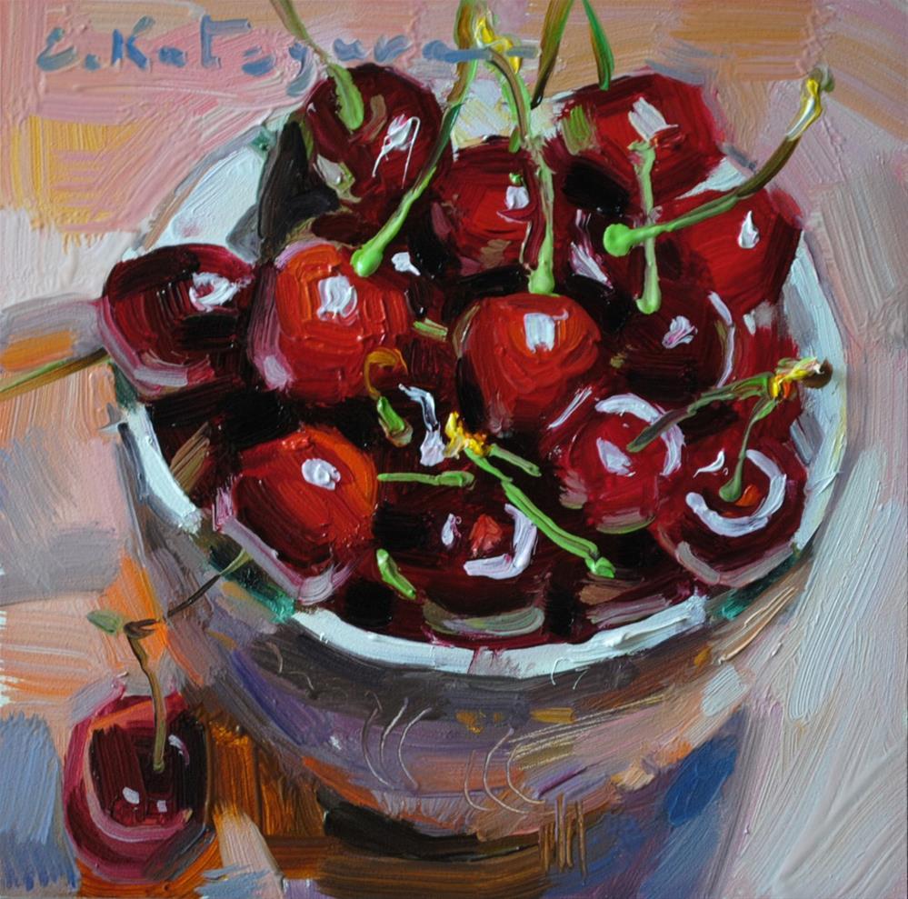 """Bowl of Cherries"" original fine art by Elena Katsyura"