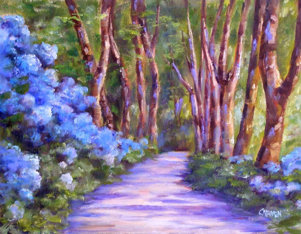"""Azores Hydrangeas, 10x8 Original OIl Landscape"" original fine art by Carmen Beecher"