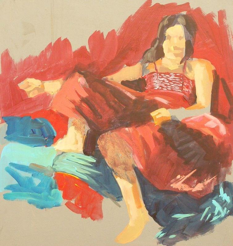 """Red dress"" original fine art by Peter Orrock"