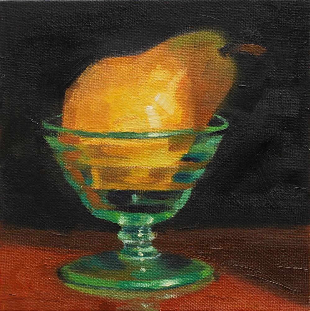 """Pear in Sherbet Bowl"" original fine art by Susan McManamen"