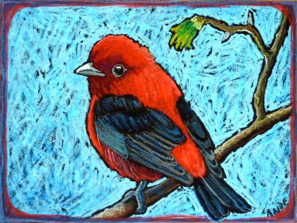 """Scarlet Tanager"" original fine art by Ande Hall"