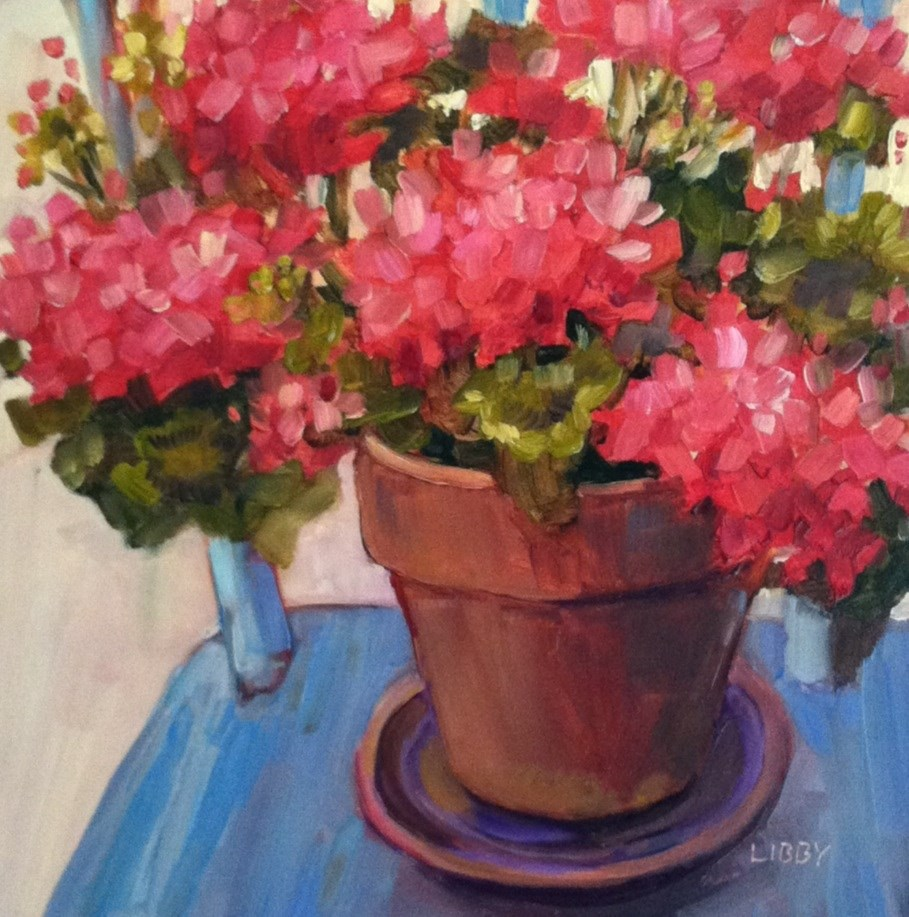 """""""Blue Chair and Geraniums"""" original fine art by Libby Anderson"""
