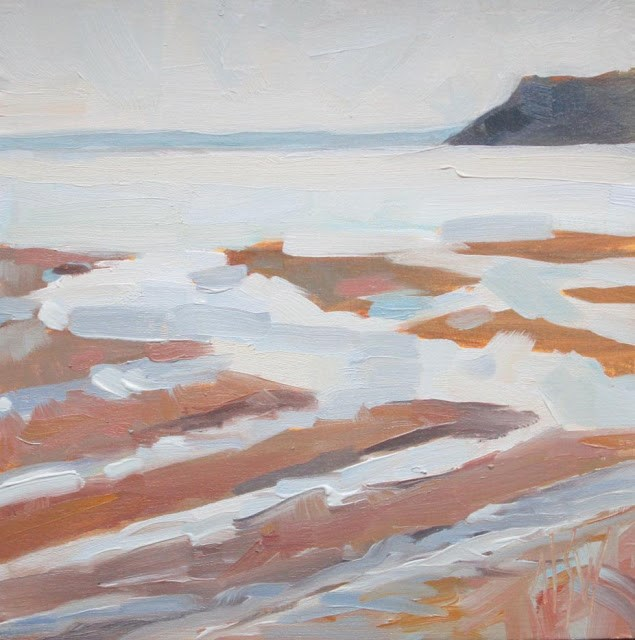 """""""Parrsboro Changing Tide 6x6 oil on panel. Second of two paintings in a sequence."""" original fine art by Mary Sheehan Winn"""