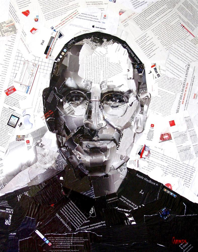 """Steve Jobs, 24 x 30 Collage"" original fine art by Carmen Beecher"