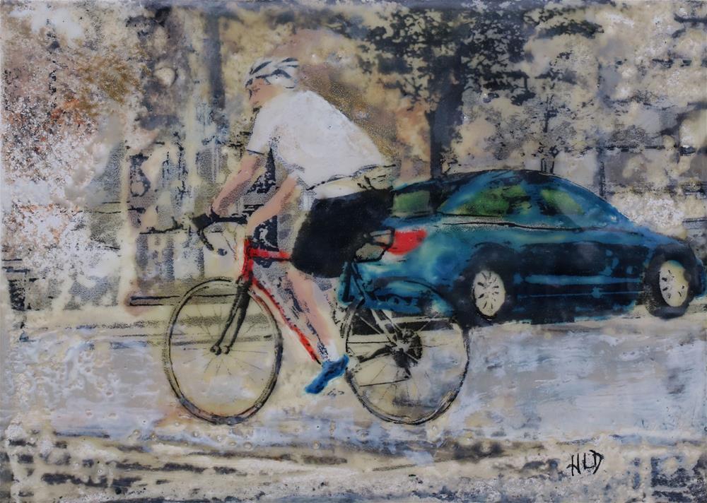 """City Cyclist"" original fine art by Heather Douglas"