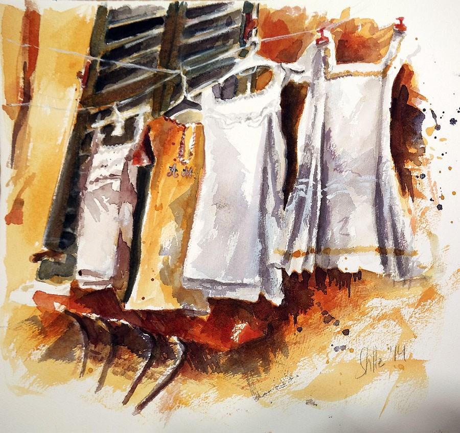 """1210 Dresses in the Wind"" original fine art by Dietmar Stiller"