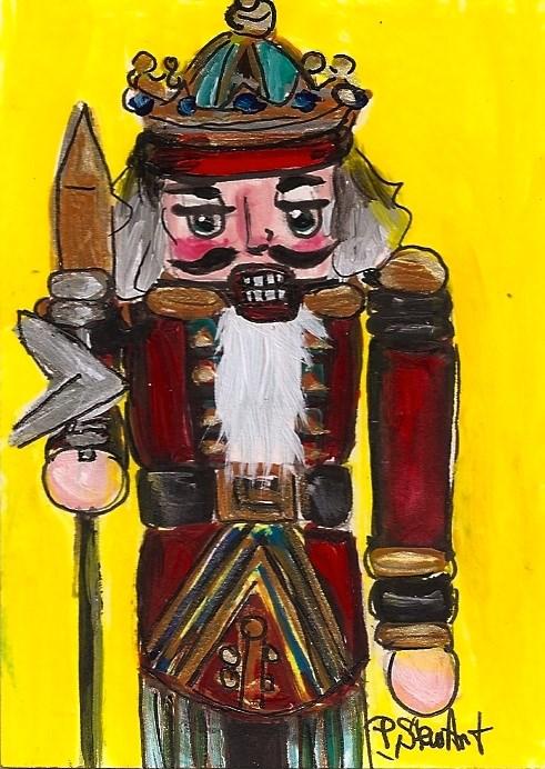 """""""ACEO Nutcracker Painting 203 King Spear Acrylic Red SFA OOAK Penny StewArt"""" original fine art by Penny Lee StewArt"""