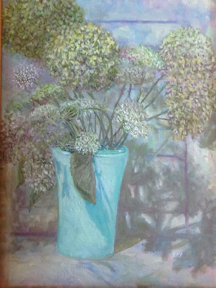 """Green vase with hydrangeas "" original fine art by barbara yongue"