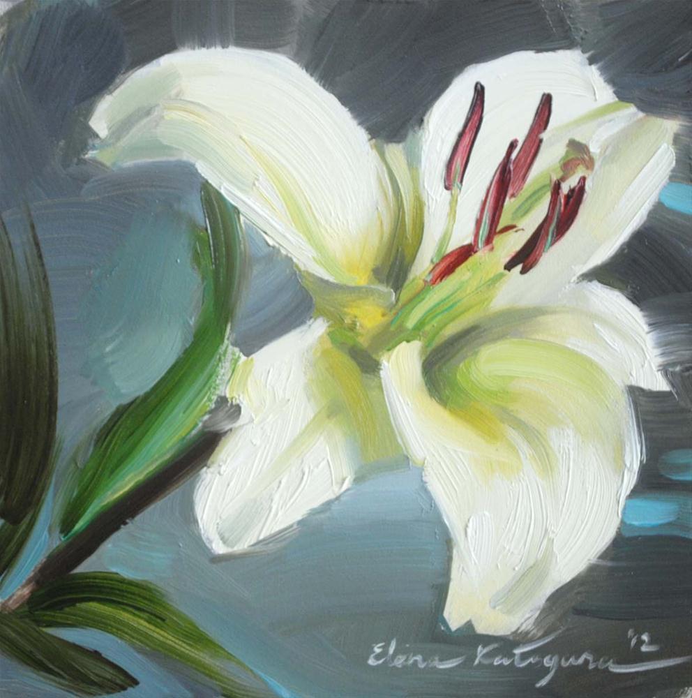 """""""One White lily"""" original fine art by Elena Katsyura"""