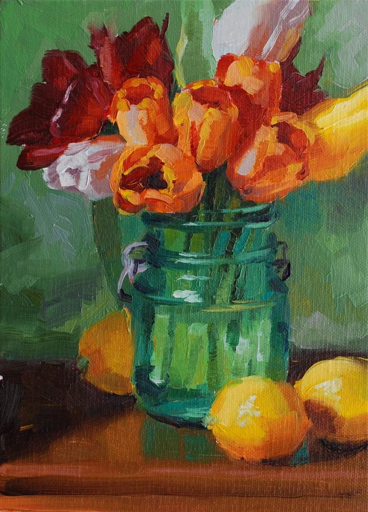 """No. 710 Tulips and Lemons"" original fine art by Susan McManamen"