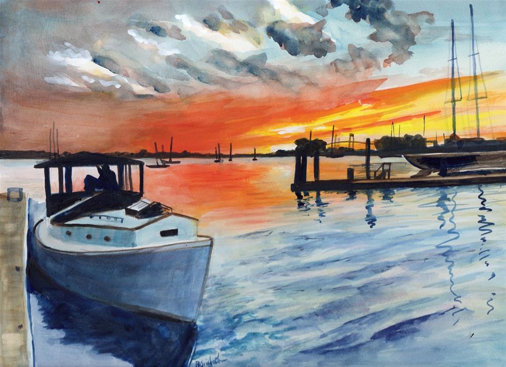 """Harbor at Sundown"" original fine art by Bunny Griffeth"
