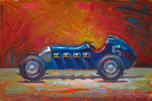 """Toy Roadster Blue"" original fine art by Raymond Logan"