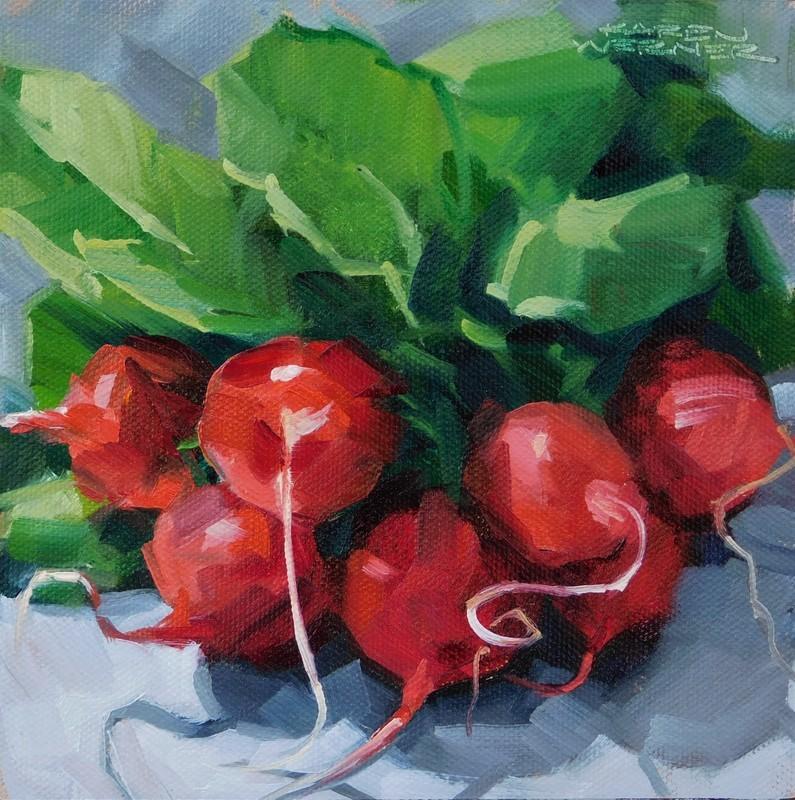 """Really Red Radishes"" original fine art by Karen Werner"