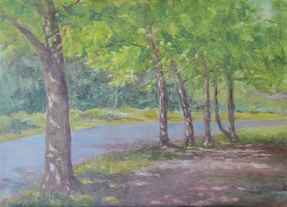 """Just off the Burke-Gilman Trail in Redmond"" original fine art by P D Jensen"