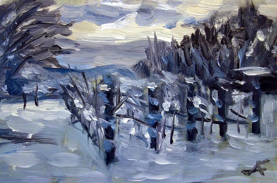 """Snow Vineyard"" original fine art by J. Farnsworth"