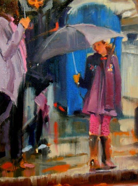 """""""Umbrella Girl figurative, cityscape"""" original fine art by Robin Weiss"""