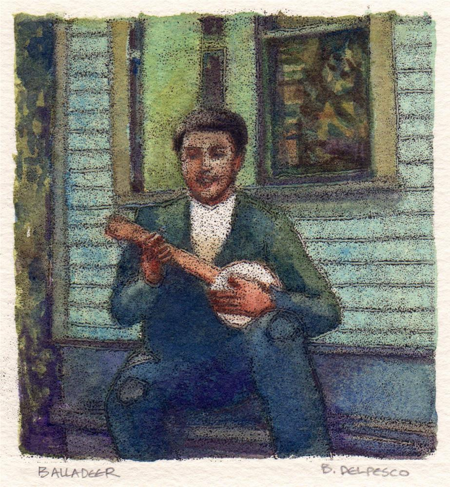 """""""Trace Monotype: Balladeer (& museum-goers are asked what they see in art)"""" original fine art by Belinda Del Pesco"""