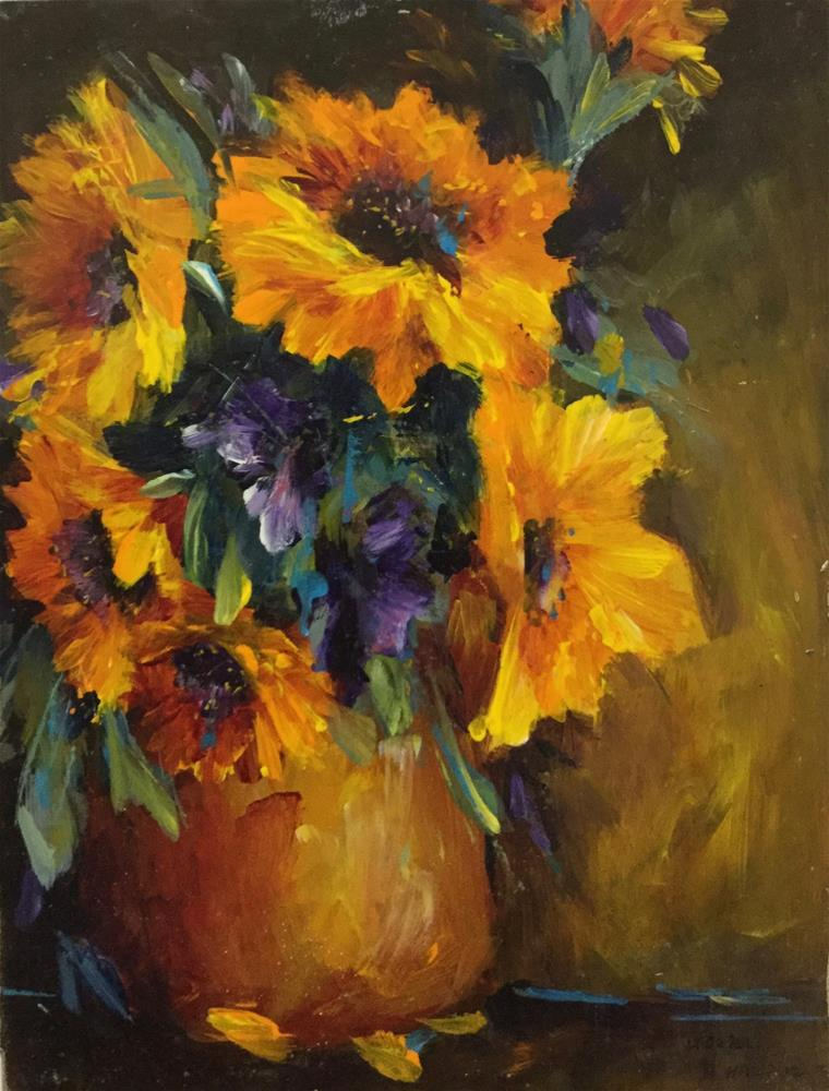 """""""Sunflowers and Purple Daisies Floral Bouquet"""" original fine art by Alice Harpel"""
