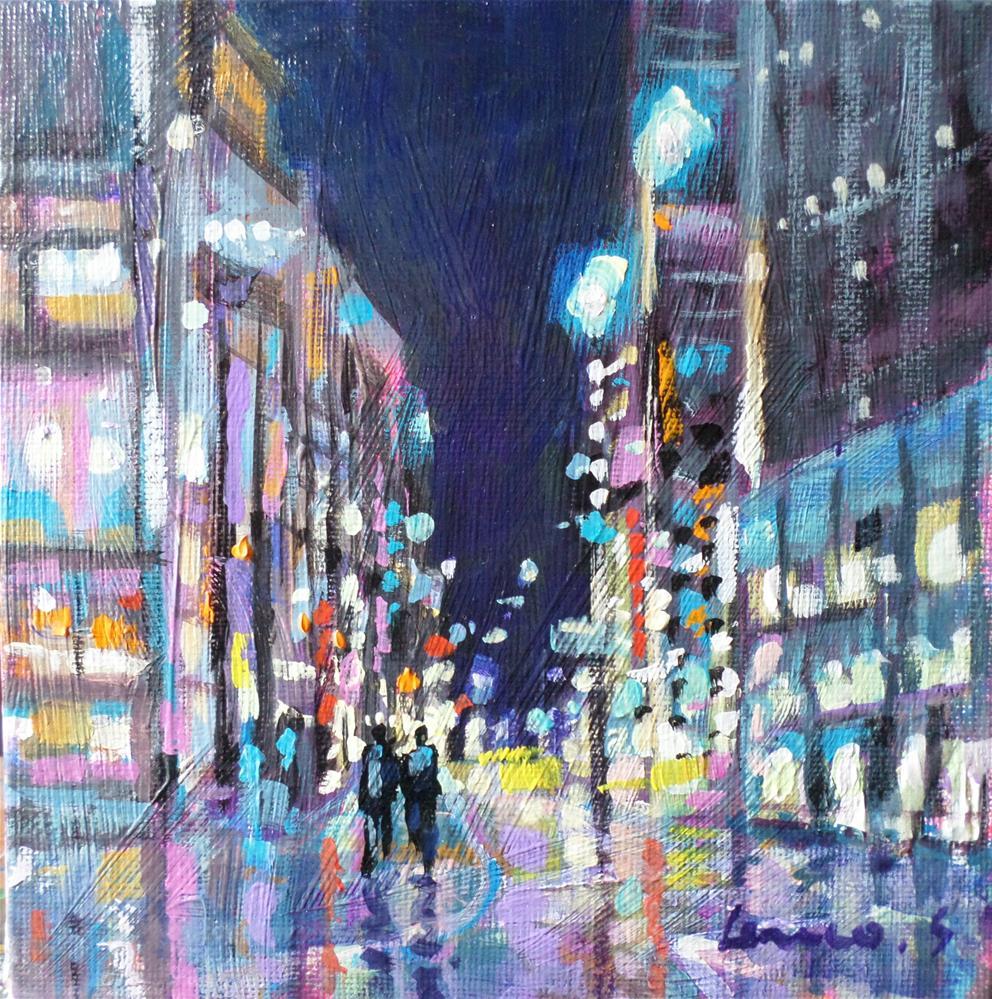 """NEW YORK BY NIGHT"" original fine art by salvatore greco"