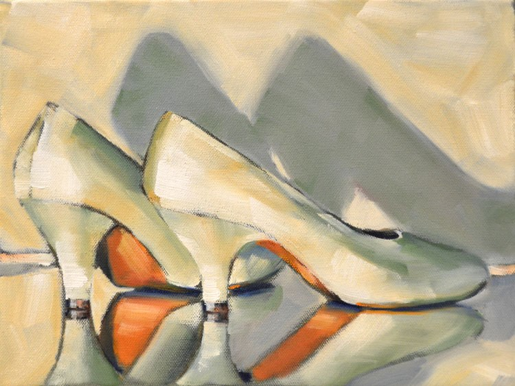 """White Heels"" original fine art by Cheryl Wilson"