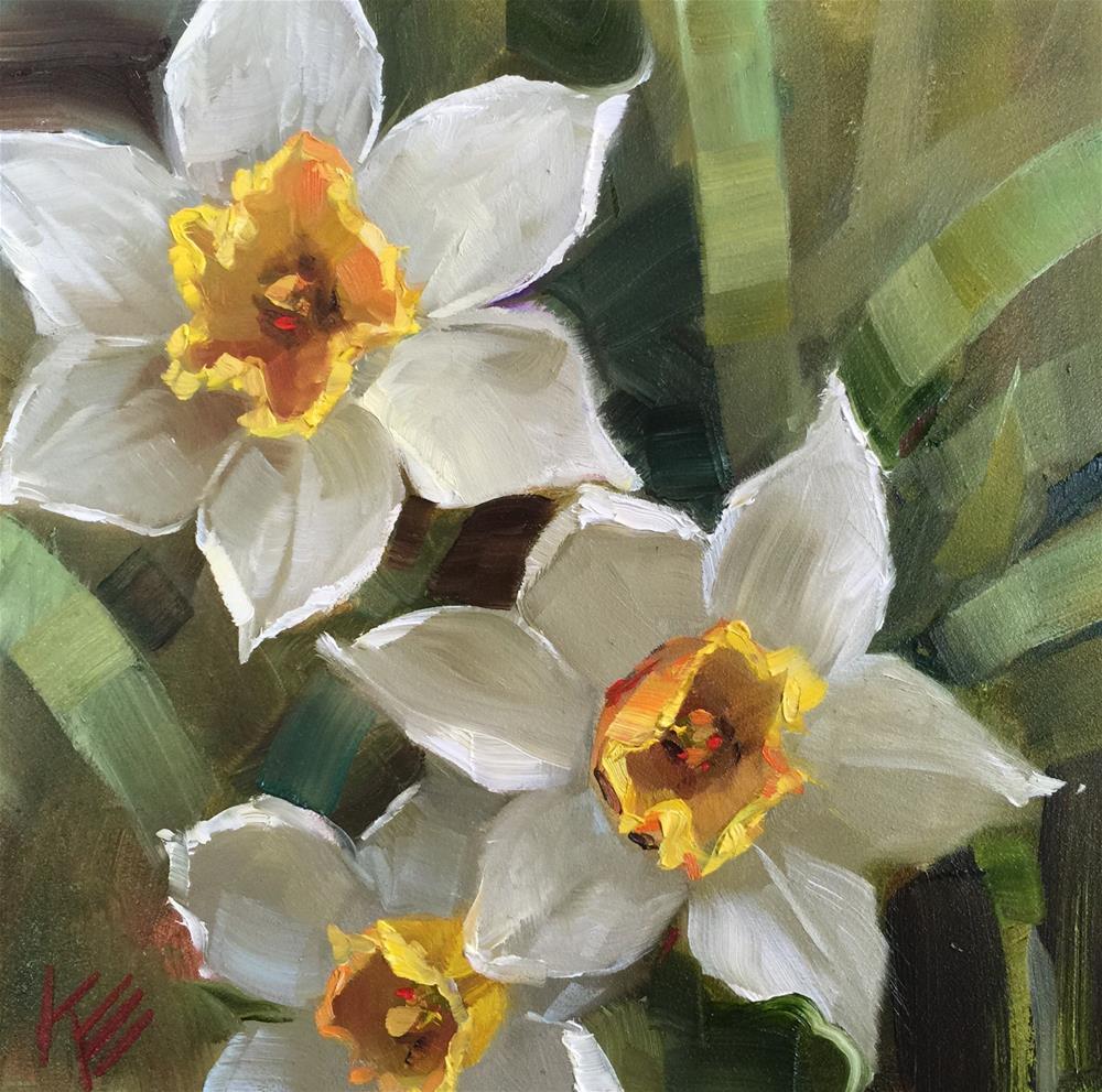 """""""Daffodils in the Garden"""" original fine art by Krista Eaton"""