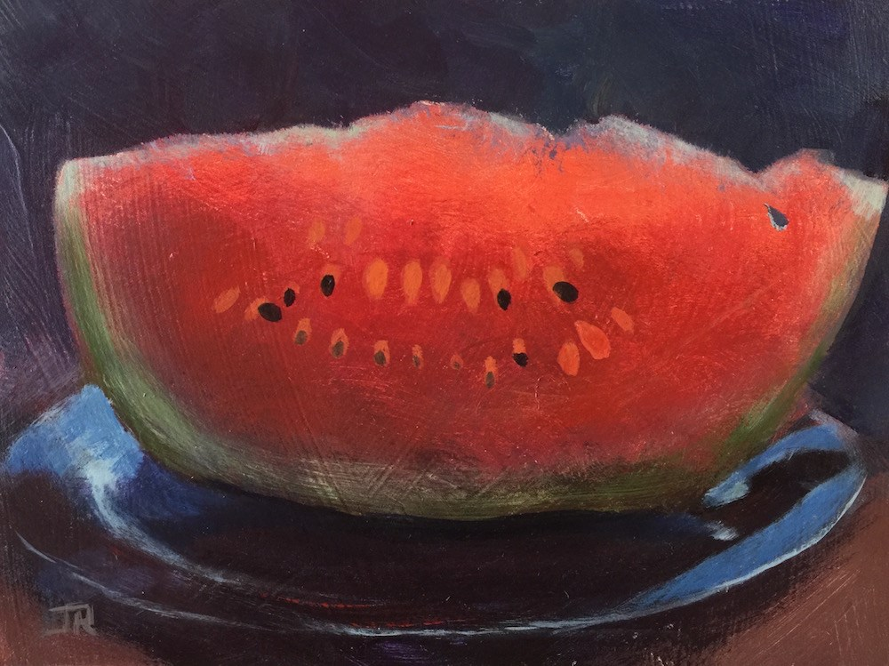 """Watermelon, Anyone?"" original fine art by June Rollins"