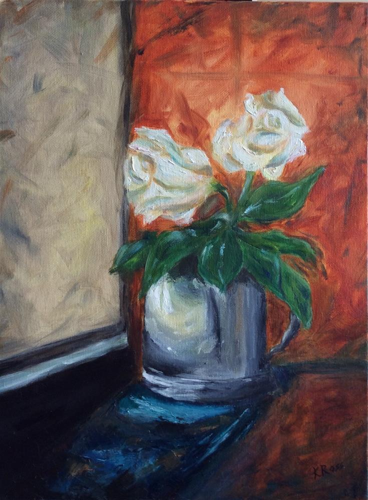 """Roses in the window"" original fine art by Kathryn Ross"