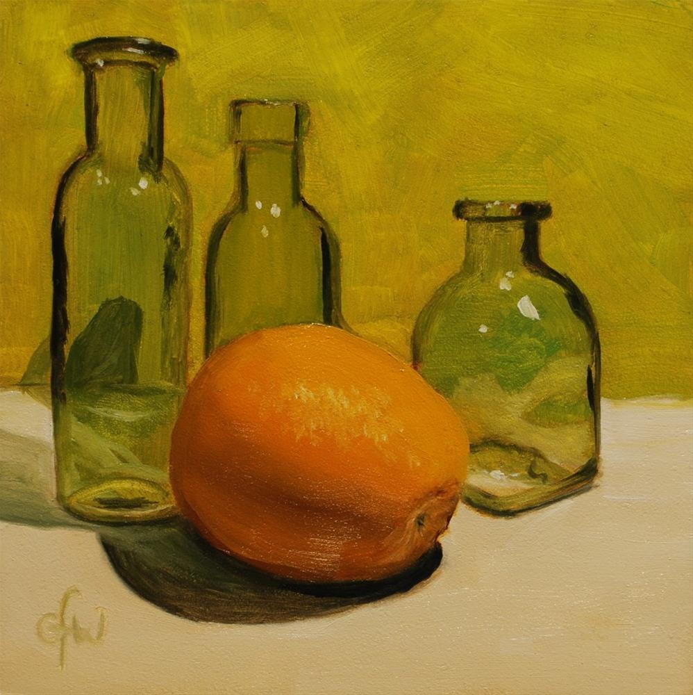 """Three Green Bottles and Orange"" original fine art by Gary Westlake"