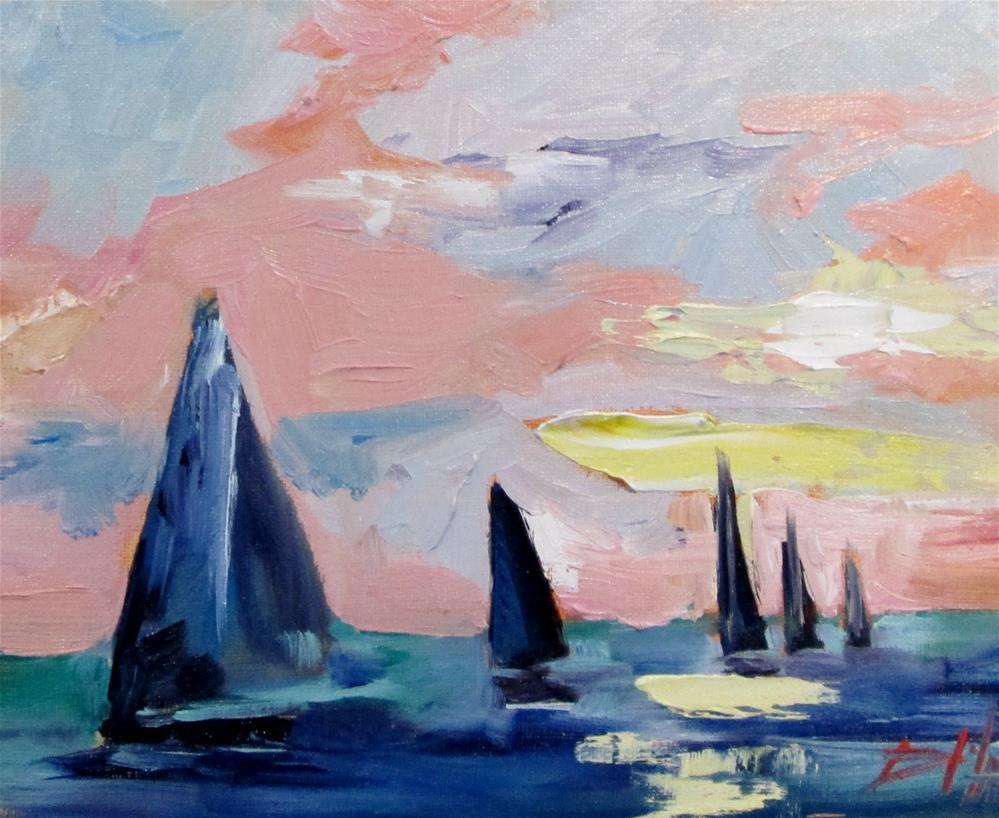 """Sailboats No. 12"" original fine art by Delilah Smith"